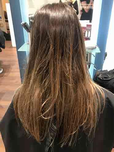 before photo in salon brown hair