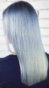Professionally dyed baby blue hair