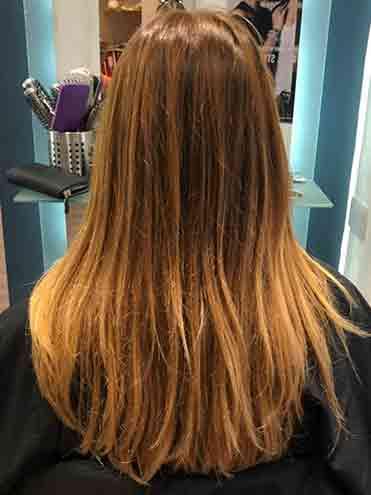 Second colour stripper in brown hair