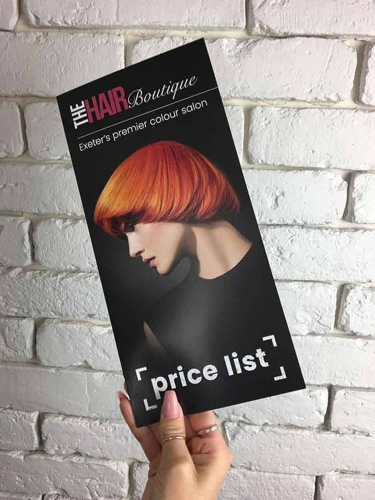 Picture of hair salon price list