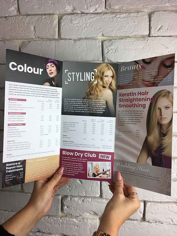 Picture of inside of hair salon price list