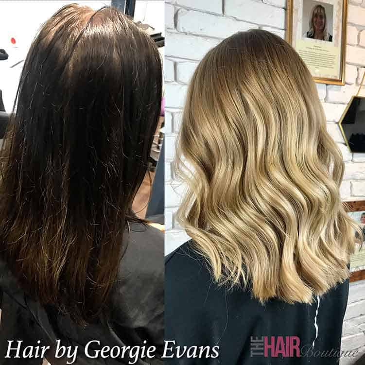 Before and after image of brown to blonde hair