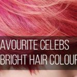 Close up of neon pink hair with the words 'our favourite celebs with bright hair colours'.