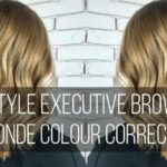 Image of woman with blonde hair with text 'brown to blonde colour correction'