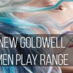 "Woman with blue hair over her face. Words over top say ""new Goldwell Elumen Play Range"""