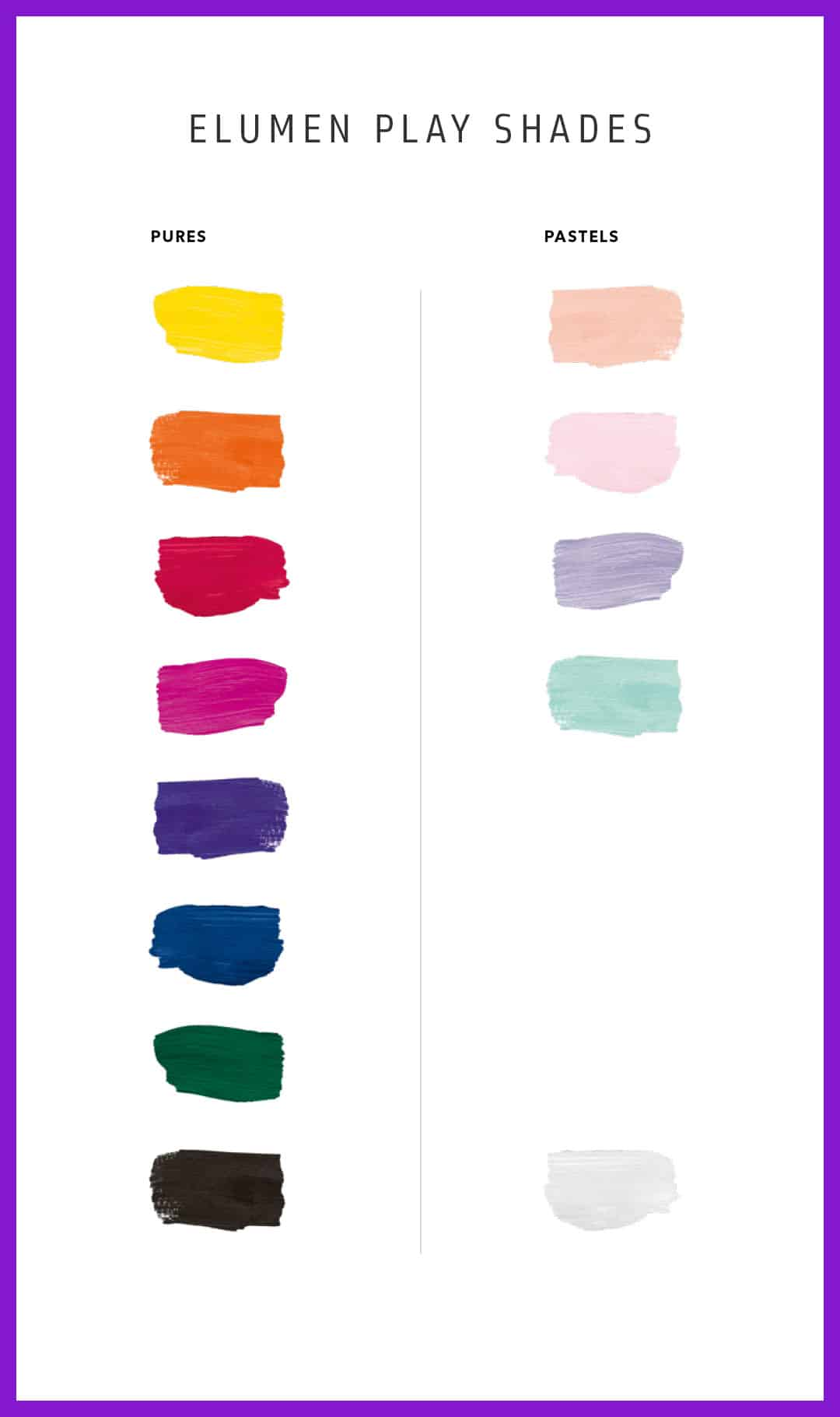 Chart showing colours of hair dye and their names.